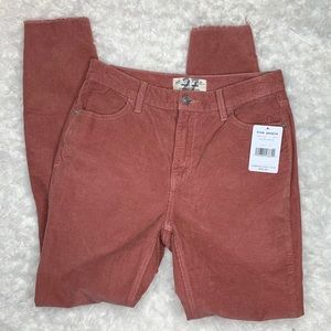 Free People High Waist Skinny Pants Corduroy Muave